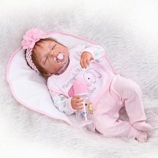 ZIYIUI 23inch 58cm Cuerpo de silicona completo Impermeable Reborn Baby Doll Realista Recién nacido Realistic Baby Doll Anatómicamente correcto Muñeca Girl