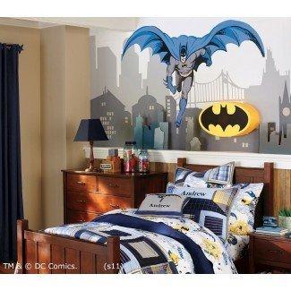 Ideas temáticas modernas de decoración de dormitorio de Batman de superhéroes para niños