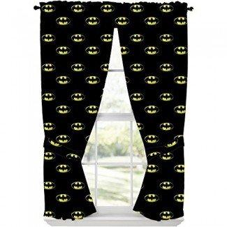"""Batman Emblem Cortina drapeada de dos paneles con tirantes 84 """"Wx63"""" L"""