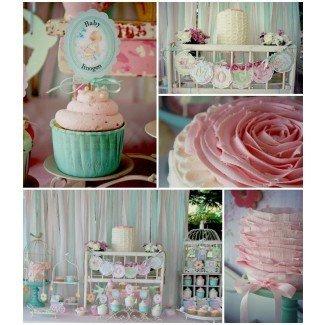 Ideas de la fiesta de Kara Shabby Chic rosa y menta Baby Shower
