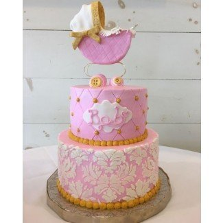 Shabby chic girl baby shower cake - pastel de Brandy-The