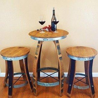 Taburetes giratorios con tapa de bar - Barril de vino hecho a mano - Creaciones de la costa central - Muebles de barril de vino