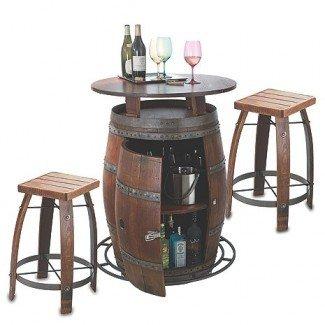 Mesa y taburetes de bar al aire libre Vintage Oak Wine Barrel Bistro