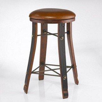 Taburete de bar redondo de barril de vino de roble vintage con asiento de cuero