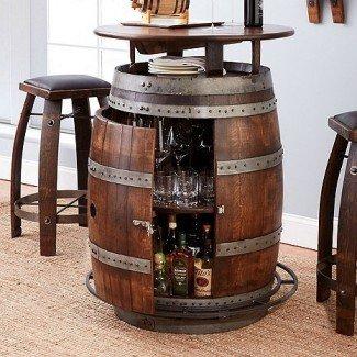 Mesa y taburetes de bar Vintage Oak Wine Barrel Bistro (Whisky