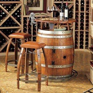 Vintage Oak Wine Barrel Bistro Mesa y taburetes de bar -