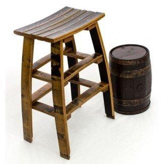 Taburete de bar de madera para vinos - Hecho completamente de barriles reciclados