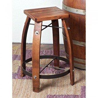 2 Day Designs - Reclamado taburete de barrica de barril de vino de 24 pulgadas con asiento de madera