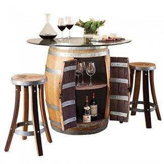 Juego de mesa de bar de vino y 2 taburetes de bar de madera # 17440