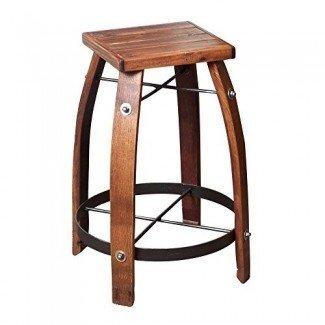 """2 Day Designs Reclaimed Taburete de bar de barril de vino de 28 """"con asiento de madera"""