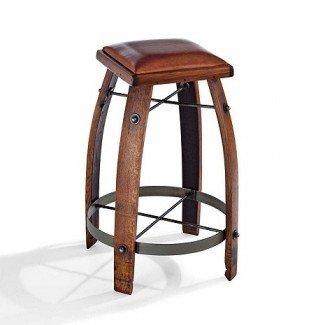Taburete de bar de barril de roble vintage con asiento de cuero -