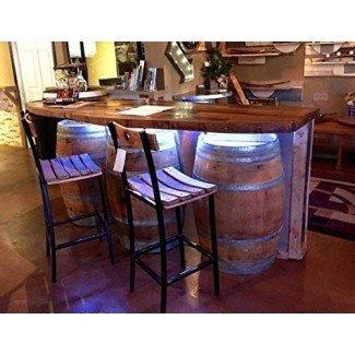 Barra de barril de vino con tapa de barra de madera dura