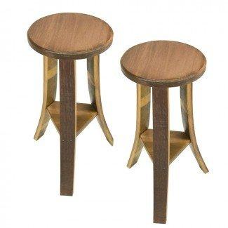 Taburetes de madera de barril de madera hechos a mano de madera maciza