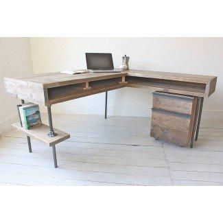 escritorio industrial de esquina de tablero recuperado stuart de urban ...