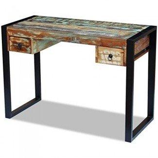 Festnight Reclaimed Wood Console Table Escritorio de computadora de oficina con 2 cajones