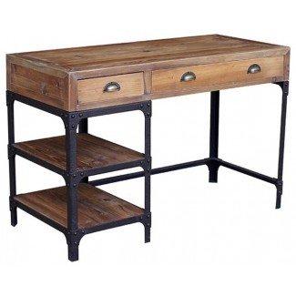 Luca Reclaimed Wood Rustic Iron Industrial Loft Desk ...