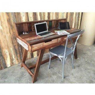 Rústico Elegante escritorio de computadora de madera reciclada - Rústico ...