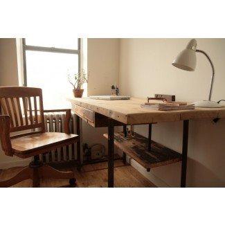 Escritorio de pie industrial de madera reciclada - Moderno - Escritorios ...