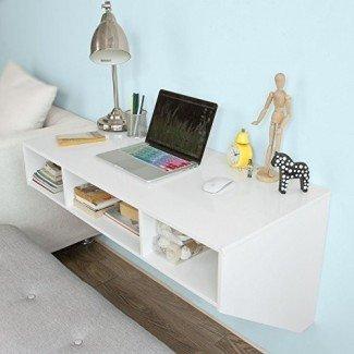 Mesa de escritorio de pared Haotian, escritorio de oficina en el hogar Estación de trabajo, escritorio flotante con almacenamiento, FWT14-W, blanco