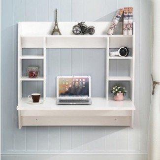 Mesa de trabajo para computadora de escritorio flotante de montaje en pared Flotante montado en la pared con almacenamiento (blanco) Stock estadounidense