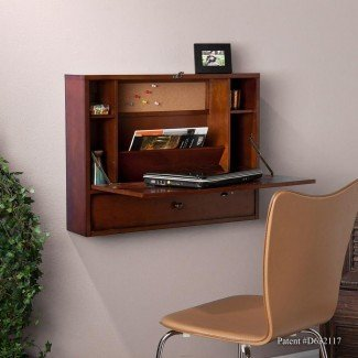- Escritorio para computadora portátil de montaje en pared SEI, caoba marrón ...