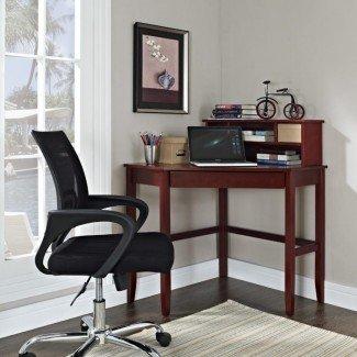 Dormitorio. Pequeño escritorio de madera para computadora con cajón colgante ...