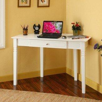 escritorios de esquina para espacios pequeños   Escritorio de esquina blanco con