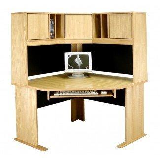 Escritorio modular para computadora con muebles de chapa de madera de roble real con conejera