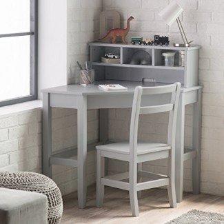 Escritorio clásico de esquina y gabinete reversible con silla, acabado en gris neutro