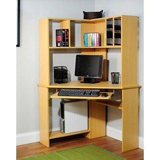 Target Marketing Systems Morgan Collection - Escritorio y gabinete para computadora de esquina ultramoderno con bandeja para teclado y estante para CD / DVD, acabado de madera natural