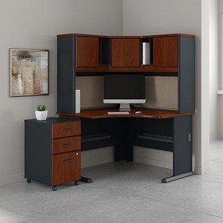 """Bush Business Furniture Series A Escritorio de esquina de 48 """"por 48"""" con estante y pedestal móvil de 3 cajones, Hansen Cherry"""