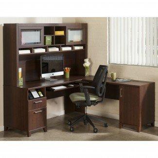 Muebles: ideas de almacenamiento en el escritorio de la esquina con estantería y ...