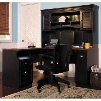 Escritorio de esquina con conejera Diseño de escritorio para el hogar Escritorio de esquina con