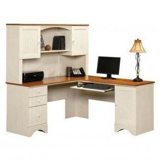 Escritorio de computadora de esquina con diseño interior de conejera - Diseño de escritorio
