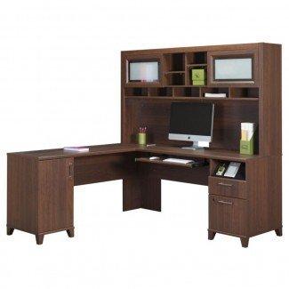 Escritorio de esquina con conejera para oficina en casa | Muebles ...