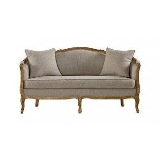 Baxton Studio Corneille - Sofá tapizado de lino tapizado de lino, roble francés, de 2 plazas, beige