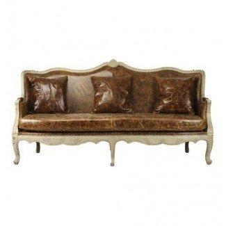 Sofá trasero de barril de cuero de arpillera de cuero francés Adele