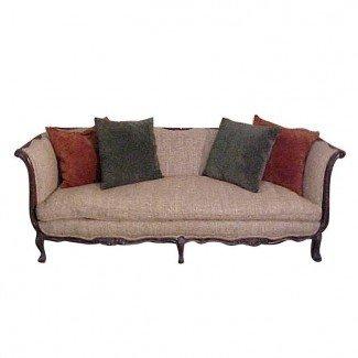 Sofá elegante de nogal francés Country Tapicería de seda Tussah ...