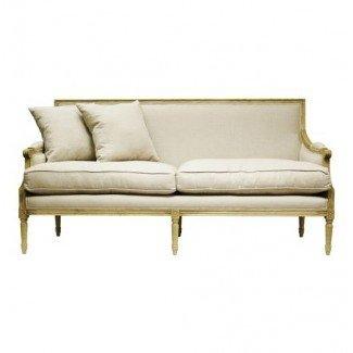 Sofá de lino con estructura de roble natural francés Country Louis XVI |
