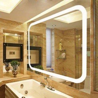 Espejo de pared con tocador con luz LED