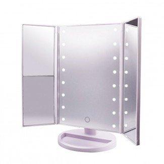Espejo de vanidad LED (3 lados pequeños y redondos) - Mejor