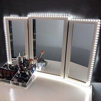 Kit de luces de espejo de vanidad LED para tocador de maquillaje Juego de tocador Tira de luz LED flexible de 13 pies 6000K Luz diurna blanca con atenuador y fuente de alimentación, Espejo DIY Hollywood Style, Espejo no incluido
