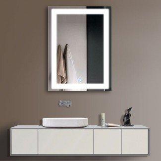 Espejo de pared con luz LED para baño Espejo de vanidad iluminado ...
