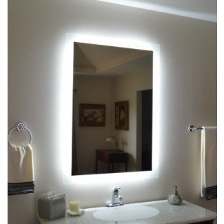 Espejo de tocador iluminado montado en la pared - Moderno - Baño ...