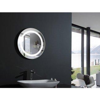 Elita Espejo de tocador con luz redonda Espejo de baño LED