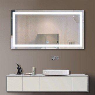 Espejo de pared con luz de baño con espejo Espejo de vanidad iluminado ...