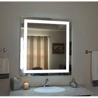 Amazon.com: Espejo de vanidad iluminado montado en la pared LED ...
