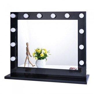 Luz de espejo de tocador de maquillaje iluminada Chende Hollywood, tocador de tocador de maquillaje Espejos con atenuador, tocador montado en la mesa o en la pared, bombillas LED incluidas