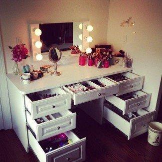 Juego de tocador de maquillaje con espejo y luces - Maquillaje