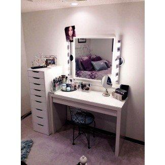 Tocador de maquillaje con luces Juego de tocador de mesa Ikea Taburete en ...